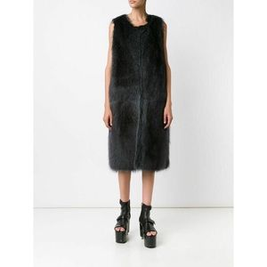 Vera Wang charcoal grey fox and raccoon fur vest